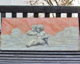 Antique oil painting of cherubs, grisaille oil painting, monochrome painting, cherub artwork, early 1900's unframed oil on canvas