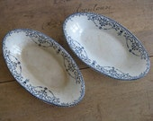 Antique French ironstone serving dishes blue and white transferware raviers by H.B & Cie