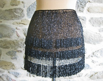 Antique jet beadwork apron, French Victorian black beaded clothing