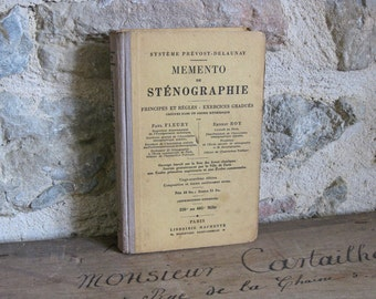 French stenography book, 1931 Memento de Stenographie, shorthand text book