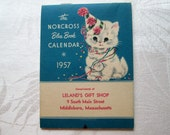 Vintage Norcross 1957 Blue Book Calendar Unused Ephemera Cats Leland's Middleboro Massachusetts