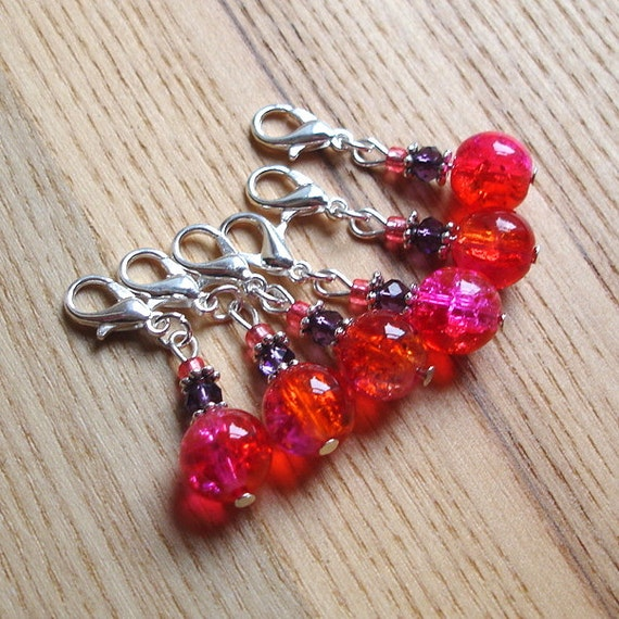 Snag Free Crackle Glass Crochet Stitch Marker Set of 6 - Crochet Tools - Gift for Crocheters - Cute Stitch Markers, Daughter Gift