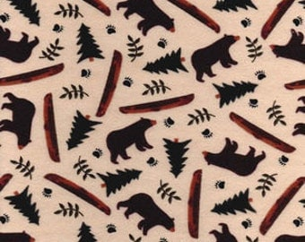 Snuggle Flannel Prints - Bears Canoes - Sold by the Yard