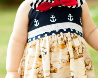 Oceana Beautiful Girls Sandy Beach Dress with A touch of USA, Princess Birthday Dress, Mothers Day, summer dress, Baby, Toddlers upto Size 8