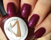 Plum Tuckered (mini size & full size) Purple jelly flakie shimmer indie polish by Fedoraharp Lacquer