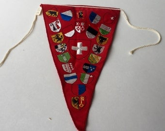 Small Red Vintage European Souvenir Pennant