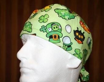 Scrub Hat, Men's Tie Back OR Scrub Hat with SWEAT Band/Mens Scrub hat/Scrub caps--Bad Piggy Leprechaun