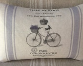 "French Pillow Cover With Vintage Bicycle - French Country Lavender Basket - Shabby Chic Pillow Cover - 12x18"" French Vintage Cotton Pillow"