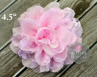 """Set of 2 LIGHT PINK Flowers - The Ali Collection - 4.5"""" Flowers - Shabby Chiffon and Lace Puff Flowers - DIY Rose Headband Clip Wedding"""