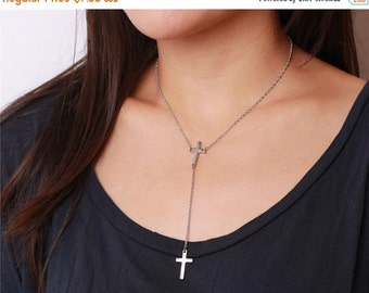 Delicate simple everyday lariat cross dangles necklace