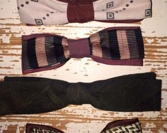 Five Retro Vintage Clip on Bowties