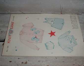 1952 Knit O Graf Baby Bird Cardigan & Swimsuit Knitting Pattern For Boys And Girls Size 1,2,4
