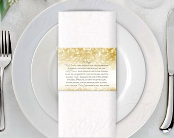 White Gold Sparkles Napkin Ring Menus (11x2.5): Text-Editable in Microsoft® Word, Printable, Instant Download