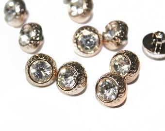 Gold Round Acrylic Rhinestone Buttons for Sewing and Accessories 30 pcs.
