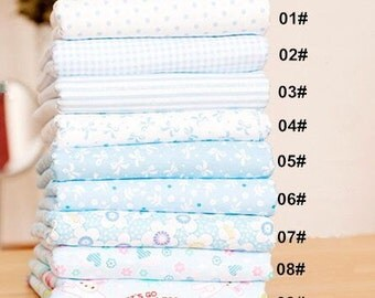 Flower Fabric Blue Flower Fabric,Shabby Chic Flower Fabric,Blue Floral Cotton Fabric 1/2 Yard (QT672)
