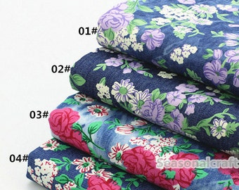 Thin Denim Cotton Fabric for craft, Pre Wash Fabric, Retro Floral Texture,4 Colors for choice,diy 1/2 yard (QT728)