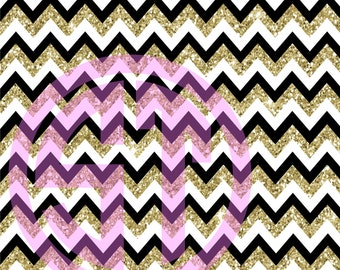 White, Black, & Gold Printed Glitter Chevron Vinyl or HTV to use in vinyl cutter.. You choose size 6x6, 8.5x11, 12x12, 12x24 or 12x36