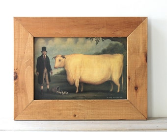 Cow farmer primitive vintage print / rustic English country style cottage decor / prize livestock cow art / simple pine frame cow wall decor
