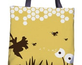 Bee Tote Bag - Bee Print - Bee Bag - Yellow Bag - Nature Tote - Nature Bag - Shopping Bag - Flower Bag - Flower Tote
