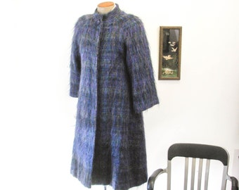 Stunning 1950s Ladies Coat Vintage Mad Men Era Mid Century Womens Full Length Purple Mohair Winter Coat Made in USA by Denise for Windermere