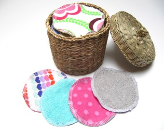 LARGE Terry-Flannel Facial Rounds, Cosmetic Rounds Terry Cloth Backing, Reusable Makeup Remover Facial Pads, Set of 30 or 40