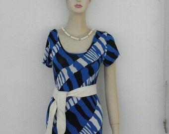 HUGE 60% OFF Blue Black n White Plaid Stretch Vintage A-Line Short Slv Maxi Dress, sz S M