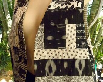 HUGE 60% OFF Black and White Patchwork Reversible Vintage Vest, 1980's, sz M