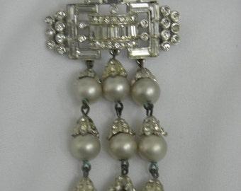 20%OFF 60's Elegant Volupte' Rhinestone Unique Rhinestone Bar Pin w/ Dangly Silver Grey Capped Pearls