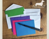 CLEARANCE! Mini Color Splash. Note Cards (Set of 4) -- (Green, Blue, Pink, Purple, Small Cards. Colorful, Bright, Hello, Thank You Cards)