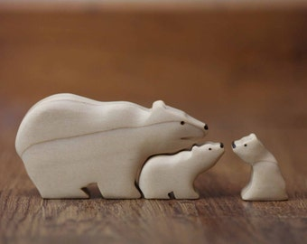 Mama Polar Bear and Cubs Wooden Toy Set - Nature Table - Waldorf Animal