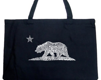 Large Tote Bag - California Bear Created using the names of some of the largest cities in California