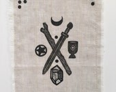 Tarot Reading Cloth for Divinatiob Work or Altars in Linen with Four Suits