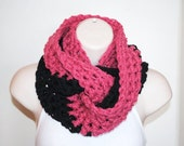 the chunky charcoal rose crochet infinity scarf