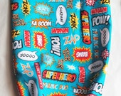 turquoise super hero words novelty fabric print grocery bag holders