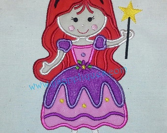 Instant Download - Princess Embroidery Applique Designs Princess Holding Star Wand Embroidery Applique 4x4, 5x7, 6x10 hoop sizes