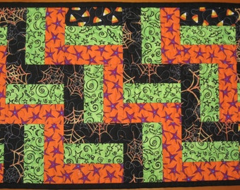 Quilted Table Runner, Scrappy Halloween Rail Fence