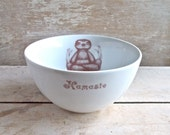 Sloth Bowl, Porcelain Cereal Bowl, Recycled Diner Ware, Asana, Meditation, Lotus Position, Baby Sloths Dishwasher safe, Ready To Ship