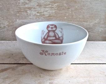 Sloth Bowl, Porcelain Cereal Bowl, Recycled Diner Ware, Asana, Meditation, Lotus Position, Baby Sloths Dishwasher safe, Ready To Ship