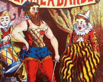 Vintage CIRCUS BEARDED LADY Liqeuer Bottle Print Clown French Lithograph