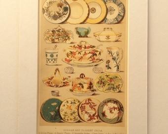 Antique Victorian 1898 Bookplate Mrs Beeton's Culinary CROCKERY Cookery ART DECO Dinner Dessert China Chromolithograph Print 1890s