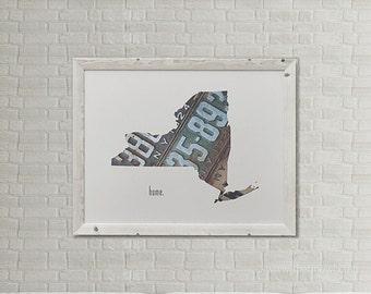 New York Home Print | New York State Outline | New York City | Albany | Vintage License Plate Art Photograph | New York License Plate Art