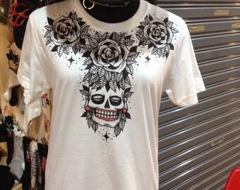 Hand made T-shirt handpainted skull