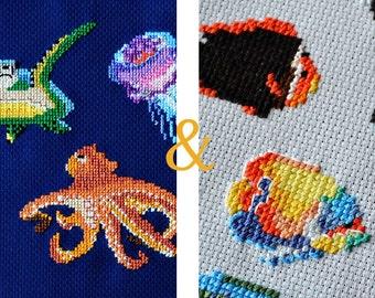 FISH cross stitch pattern, cool cross stitch, modern cross stitch pattern, diy hoop art, underwater animals, counted cross stitch
