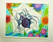 """Colorful art print. spider art. ink jet art print spider in web with flowers 8x10"""" print"""