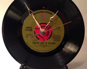 "Recycled JAMES TAYLOR 7"" Record / You've Got A Friend / Record Clock"