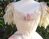 Vtg Victorian Style White Flounced Ball Gown - Wedding - Prom - Quinceanara