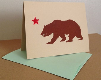 MultiPack - 5 California Grizzly Linocut Greeting Cards