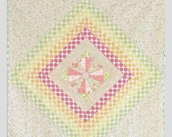 CHRISTMAS In JULY SALE Modern Rainbow Quilt - Baby Crib Quilt - Toddler Quilt - Modern Cross Quilt - Play Mat
