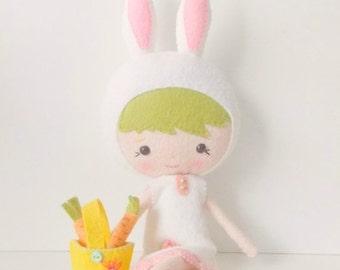 BACK 2 SCHOOL SALE Dainty Darling - Felt Doll - Bunny Doll - Gingermelon Doll