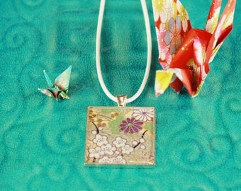 christmas gift- japanese paper pendant - pendant necklace